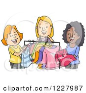 Clipart Of A Happy Diverse Women Clothes Shopping Or Swapping Clothes Royalty Free Vector Illustration