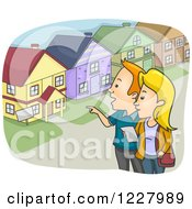 Clipart Of A Couple Shopping For A House Royalty Free Vector Illustration