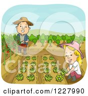 Clipart Of A Happy Couple In Their Vegetable Garden Royalty Free Vector Illustration