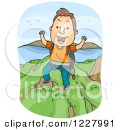 Clipart Of A Man Cheering On Top Of A Mountain After A Climb Royalty Free Vector Illustration