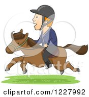 Clipart Of An Equestrian Man Riding A Horse Royalty Free Vector Illustration