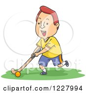 Clipart Of A Man Playing Field Hockey Royalty Free Vector Illustration by BNP Design Studio