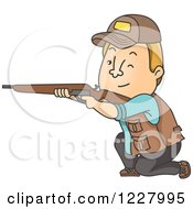 Clipart Of A Male Hunter Kneeling And Aiming His Rifle Royalty Free Vector Illustration