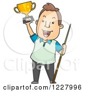 Clipart Of A Man Holding A Billiards Pool Trophy And Cue Stick Royalty Free Vector Illustration