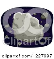 Clipart Of Large And Small Asteroids In Outer Space Royalty Free Vector Illustration by BNP Design Studio
