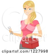 Clipart Of A Handy Woman Holding A Wrench And Tool Box Royalty Free Vector Illustration by BNP Design Studio