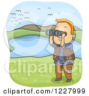 Man Watching Birds With Binoculars By A Pond