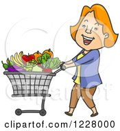 Clipart Of A Happy Woman Pushing A Shopping Cart Full Of Produce Royalty Free Vector Illustration by BNP Design Studio