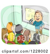 Clipart Of A Man Lecturing Teenagers On Recycling Royalty Free Vector Illustration