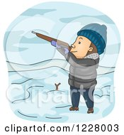 Clipart Of A Man Hunting In The Winter Royalty Free Vector Illustration