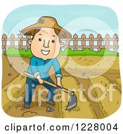 Clipart Of A Happy Farmer Cultivating His Garden With A Hoe Royalty Free Vector Illustration