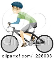 Clipart Of A Happy Cyclist Man On A Bike Royalty Free Vector Illustration by BNP Design Studio