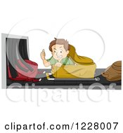 Clipart Of A Man Holding A Thumb Up While Riding Through The Baggage Check Royalty Free Vector Illustration by BNP Design Studio
