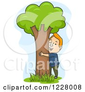 Clipart Of A Happy Man Hugging A Tree Royalty Free Vector Illustration