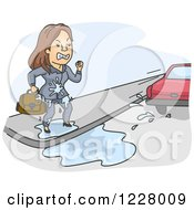 Clipart Of A Mad Businesswoman Being Splashed By A Passing Car Royalty Free Vector Illustration