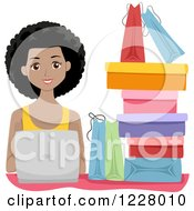 Clipart Of A Happy Black Woman With Shopping Bags And A Laptop Royalty Free Vector Illustration