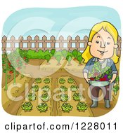 Clipart Of A Happy Woman With A Bowl Full Of Fresh Produce In A Garden Royalty Free Vector Illustration
