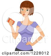 Clipart Of A Disappointed Woman Holding An Unhealthy Can Of Food Royalty Free Vector Illustration