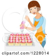 Clipart Of A Happy Brunette Woman Icing Cupcakes Royalty Free Vector Illustration