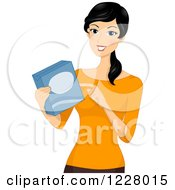 Clipart Of A Happy Woman Reading Ingredients On Boxed Food Royalty Free Vector Illustration