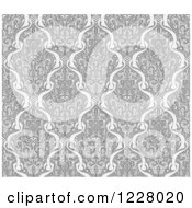 Clipart Of A Grayscale Seamless Art Nouveau Pattern Royalty Free Vector Illustration