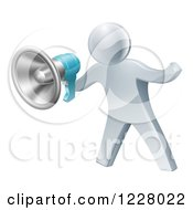 Clipart Of A 3d Silver Man Announcing With A Megaphone Royalty Free Vector Illustration