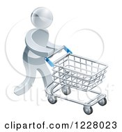 Clipart Of A 3d Silver Man Pushing A Shopping Cart Royalty Free Vector Illustration