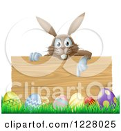 Brown Bunny Over A Wood Sign And Easter Eggs