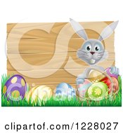 Gray Bunny Over A Wood Sign And Easter Eggs 3
