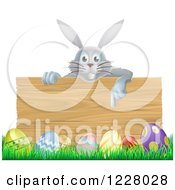 Gray Bunny Over A Wood Sign And Easter Eggs 2