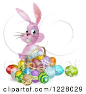Clipart Of A Pink Bunny With Easter Eggs And A Basket Royalty Free Vector Illustration