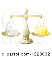 Clipart Of A Scale Balancing Chalk And Cheese Royalty Free Vector Illustration by AtStockIllustration