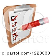 Clipart Of A Pencil Filling Out A Survey On A Clipboard Royalty Free Vector Illustration by AtStockIllustration