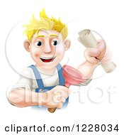 Clipart Of A Blond Man Holding A Plunger And Degree Royalty Free Vector Illustration
