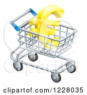 Clipart Of A 3d Golden Euro Symbol In A Shopping Cart Royalty Free Vector Illustration by AtStockIllustration