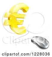 Clipart Of A 3d Golden Euro Symbol Connected To A Computer Mouse Royalty Free Vector Illustration by AtStockIllustration