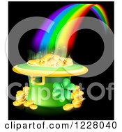 Clipart Of A St Patricks Day Leprechaun Hat Pot Of Gold And Rainbow On Black Royalty Free Vector Illustration by AtStockIllustration