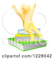 Clipart Of A 3d Gold Person Cheering And Sitting On A Stack Of Books Royalty Free Vector Illustration