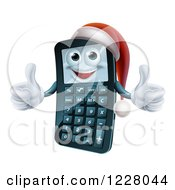 Clipart Of A Happy Christmas Calculator Holding A Thumb Up Royalty Free Vector Illustration