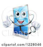 Clipart Of A Doctor Smart Phone Wearing A Stethoscope And Holding A Thumb Up Royalty Free Vector Illustration
