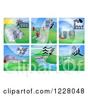 Clipart Of Different Energy Power Plants Royalty Free Vector Illustration