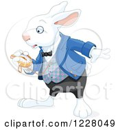 Clipart Of A The White Rabbit Of Wonderland Looking At His Watch Royalty Free Vector Illustration