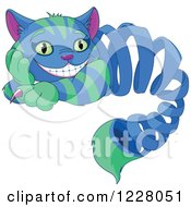 Clipart Of The Cheshire Cat Appearing As A Spring Royalty Free Vector Illustration by Pushkin