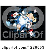 Clipart Of Alice Falling To Wonderland Royalty Free Vector Illustration