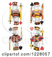 Clipart Of Jack Of Clubs Diamonds Spades And Hearts Royalty Free Vector Illustration