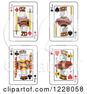 Clipart Of Jack Of Clubs Diamonds Spades And Hearts Playing Cards Royalty Free Vector Illustration
