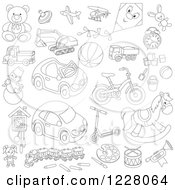 Clipart Of Outlined Childrens Toys Royalty Free Vector Illustration by Alex Bannykh