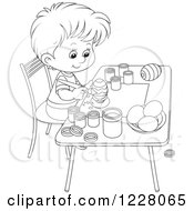 Clipart Of An Outlined Boy Painting Easter Eggs Royalty Free Vector Illustration
