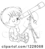Outlined Boy Looking Through A Telescope