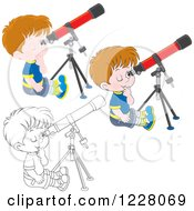 Outlined And Colored Boys Looking Through Telescopes